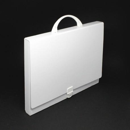 Prospektkoffer weiß aus Karton DIN-A4, Prospektkoffer bedruckbar,