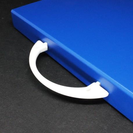 Prospektkoffer blau DIN A4, Prospektkoffer. Werbe-Prospektkoffer, Büro-Prospektkoffer.