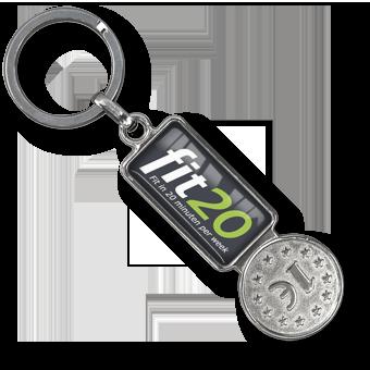 Schlüsselanhänger Einkaufs-Chip Metall, Schlüsselanhänger Einkaufswagen Chip Coiny Metall