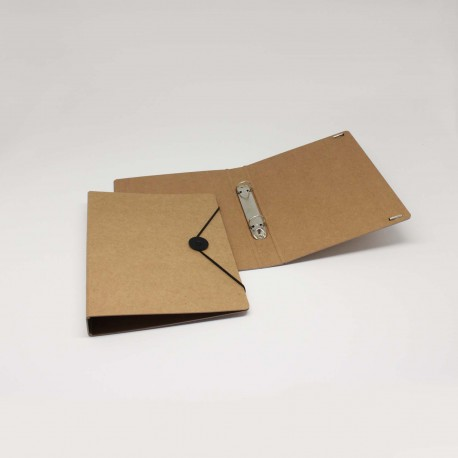 Ringordner aus Natur-Pappe für DIN A5 mit Verschluss-Scheibe für den Büro