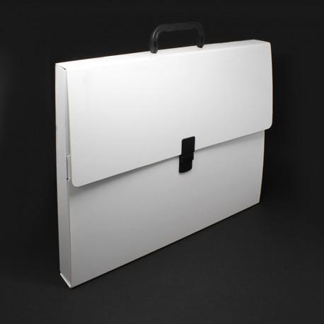 Prospektkoffer aus Karton weiß DIN-A3, prospektkoffer bedruckbar din-a3
