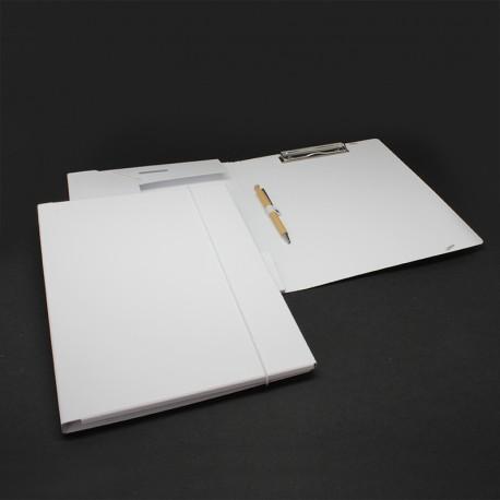 Tagungsmappe aus Karton weiß mit Blockklemme tagungsmappe bedruckbar mit blockklemme