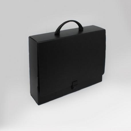 koffer-in tiefschwarz aus karton, Prospektkoffer in tiefschwarz aus Karton,